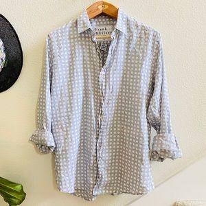 FRANK & Eileen gray polka dot cotton blouse top L